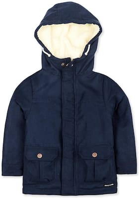 Cherry Crumble By Nitt Hyman Boy Polyester Solid Winter jacket - Blue