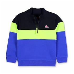 Cherry Crumble Boy Polyester Solid Sweatshirt - Blue