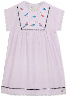 Cherry Crumble Baby girl Cotton Solid Princess frock - Pink