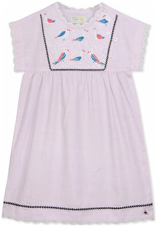 Cherry Crumble By Nitt Hyman Baby girl Cotton Solid Princess frock - Pink