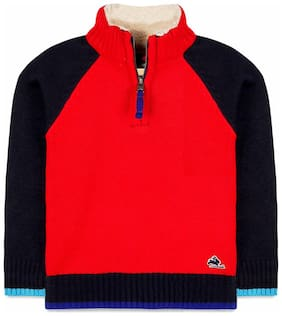 Cherry Crumble Boy Acrylic Solid Sweater - Red