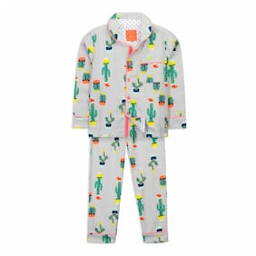 Cherry Crumble By Nitt Hyman Quirky cactus Nightsuit Grey