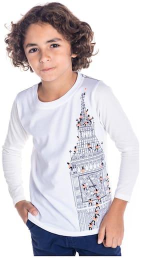 Cherry Crumble Boy Cotton blend Printed T-shirt - White