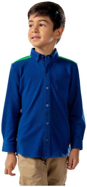 Cherry Crumble By Nitt Hyman Boy Cotton Solid Shirt Blue