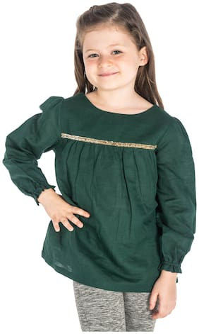 Cherry Crumble By Nitt Hyman Girl Cotton Solid Top - Green