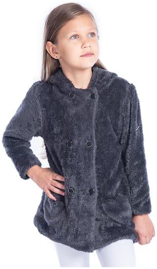 Cherry Crumble By Nitt Hyman Boy Polyester Solid Winter jacket - Grey