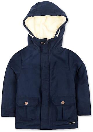 Cherry Crumble By Nitt Hyman Boy Polyester Solid Winter jacket - Blue