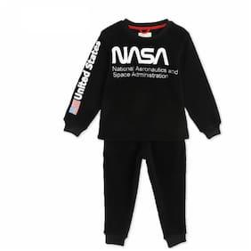 Cherry Crumble By Nitt Hyman NASA Applique Nightsuit with Eye Mask Black
