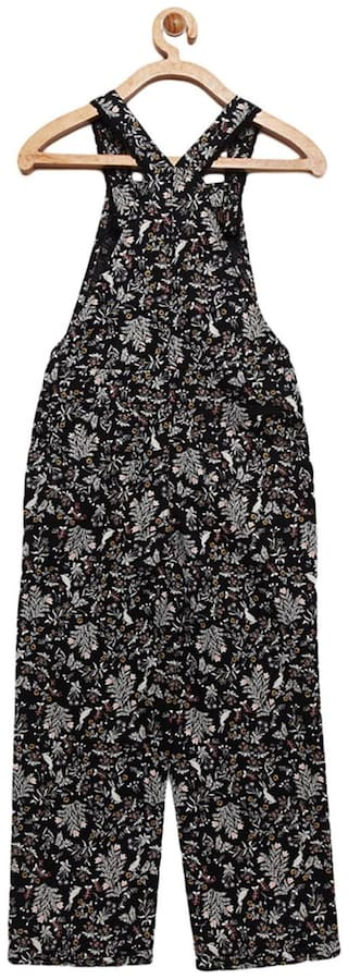 Cherry Crumble By Nitt Hyman Cotton Floral Romper For Girl - Black