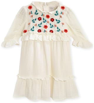 Cherry Crumble By Nitt Hyman Cream Cotton Blend 3/4th Sleeves Knee Length Princess Frock ( Pack of 1 )