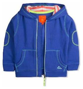 Cherry Crumble Boy Cotton blend Solid Sweatshirt - Blue
