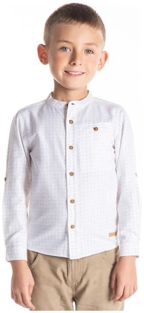 Cherry Crumble By Nitt Hyman Boy Cotton Printed Shirt White