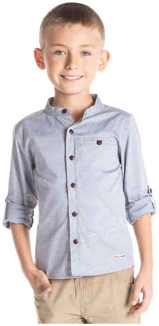 Cherry Crumble By Nitt Hyman Boy Cotton Printed Shirt Grey
