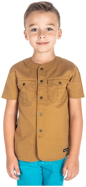 Cherry Crumble Boy Cotton Solid T-shirt - Brown