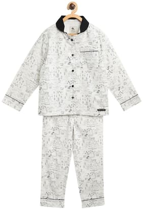 Cherry Crumble Dalmatian Plush Nightsuit With Sleeping Mask (White)