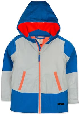 Cherry Crumble Boy Polyester Colorblocked Winter jacket - Grey