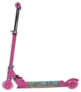 Chhota Bheem Pink Twist Scooter - Rubber Gripped Handles - Stylish scooter for kids - Three Wheel Cycle - For Children