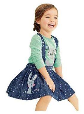 Baby Girls Clothing Sets Rabbit Overalls Denim Dress(130)