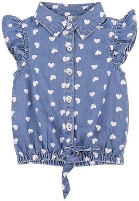 Chirpie Pie by Pantaloons Denim Printed Top for Baby Girl - Blue