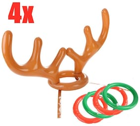 Christmas Party Game Reindeer Antler Ring Toss Inflatable Holiday Class Game Toy