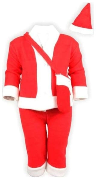 Christmas Santa Claus Fancy Dress Costume for Xmas Party for Boy Girl Kids Merry Christmas kids of 1-2 Years