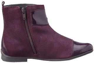 Clarks Maroon Girls Boots