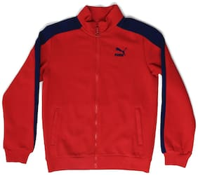 Puma Boy Cotton Solid Sweater - Red