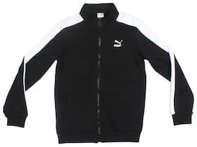 Puma Boy Cotton Colorblocked Sweater - Black
