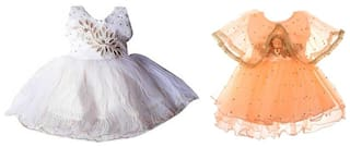 CLOTHONICS Baby girl Cotton blend Embellished Princess frock - White & Orange