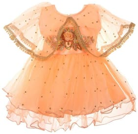CLOTHONICS Baby girl Cotton blend Self design Princess frock - Orange