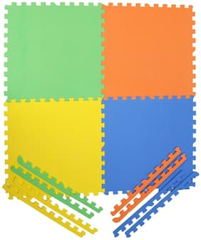 Colorful 4 square Kids play Puzzle style mat24  X 24 .