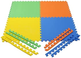 Colorful 4 square Kids play Puzzle style mat 24  X 24 .