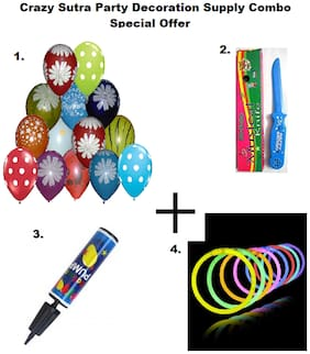 Colorful Balloon Multicolor Printed (Pack of 25)+Happy Birthday Musical Knife+Handy Air Balloon Pump/ Balloon Inflator+ Glow Sticks Bands-Premium Lumistick Bracelets-100 pcs Set Assorted Colours