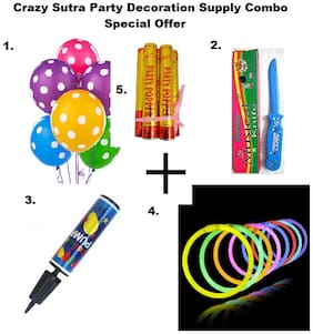 Colorful Polka Dot Printed Multicolor Balloon+Happy Birthday Musical Knife+Handy Air Balloon Pump/ Balloon Inflator+ Glow Sticks Bands-Premium Lumistick Bracelets-100 pcs Set Assorted Colours