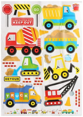 Colorful PVC Wall Decals Construction Trucks Tractor Room Decoration Art Sticker