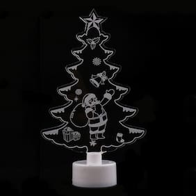 Colorful Small Christmas Tree Snowman Santa Night Light Gift Christmas Creative Decoration Toy(Transparent) #SmileDay