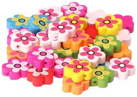 Colorful wooden beads buttons flower shape 40 pcs, size 2 x 2 cm, used in jewellery, scrap booking, art & craft, decorations etc