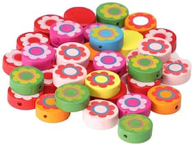 Colorful wooden beads buttons round shape 50 pcs, size 2 x 2 cm, used in jewellery, scrap booking, art & craft, decorations etc