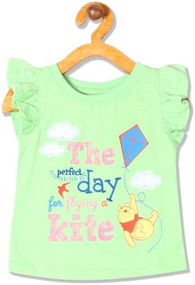 Colt Cotton Printed Top for Baby Girl - Green
