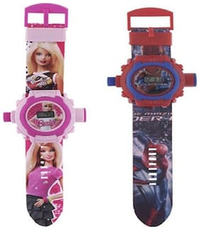 Combo Barbie And Spiderman 24 Image Projector Watch Pack Of - 2 By Signomark