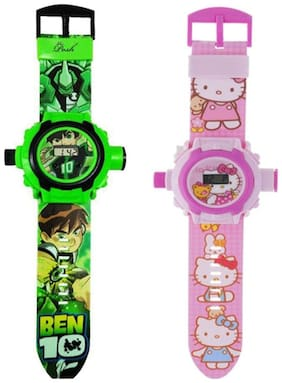 Combo Ben 10 And Hello kitty 24 Image Projector Watch Pack Of - 2 By Signomark
