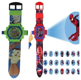 Combo Chhota Bheem And Spiderman  24 Image Projector Kids Watch Pack Of - 2 By Signomark.
