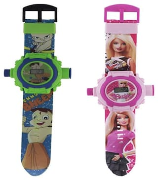 Combo Chhota Bheem And Barbie 24 Image Projector Kids Watch Pack Of - 2 By Signomark.