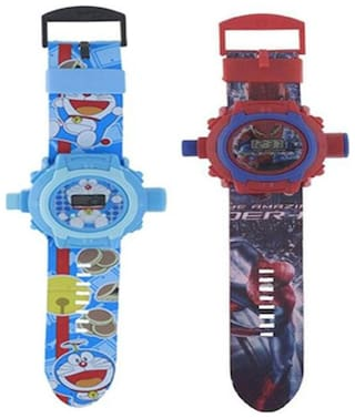Combo Doremon And Spiderman 24 Image Projector Watch Pack Of - 2 By Signomark