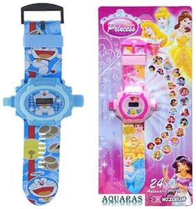 Combo Doremon And Princess 24 Image Projector Watch Pack Of - 2 By Signomark