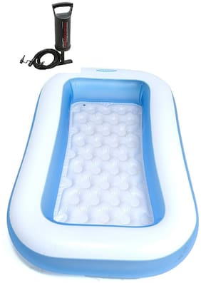 Combo-Intex 6 ft Inflatable Bath Tub with Pump (Blue)