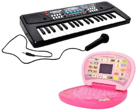 Combo of 37 Key Piano Keyboard Toy with DC Power Option;Recording and Mic With learning English Mini Laptop for kids