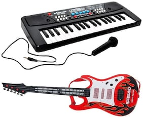 Combo of 37 Key Piano Keyboard Toy with DC Power Option;Recording and Mic with Musical Guitar With Light And Sound for kids