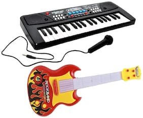Combo of 37 Key Piano Keyboard Toy with DC Power Option;Recording and Mic with Musical Guitar (multicolor )With Light And Sound for kids