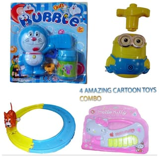 92e53c11e COMBO OF 4 AMAZING CARTOON TOYS. { 1 DOREMON BUBBLE GUN, 1 SPINNING TOP
